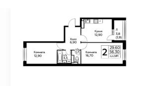 Планировка двухкомнатной квартиры в Южное Бунино